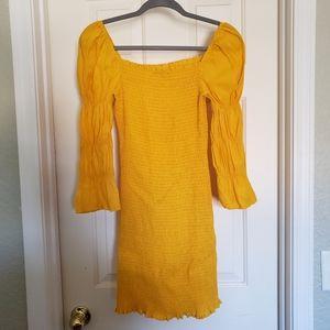 Fashion Nova Yellow Stretch Gauze Dress